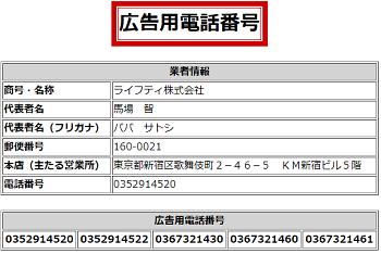 ライフティ株式会社の広告用電話番号