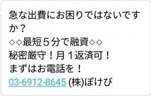 0369128645の(株)ぽけびからのメール画像